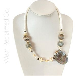 Vintage Chunky Neutral Mixed Media Necklace